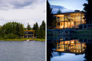 Private lake side residence in Alberta. Composite post and beam and stick frame.